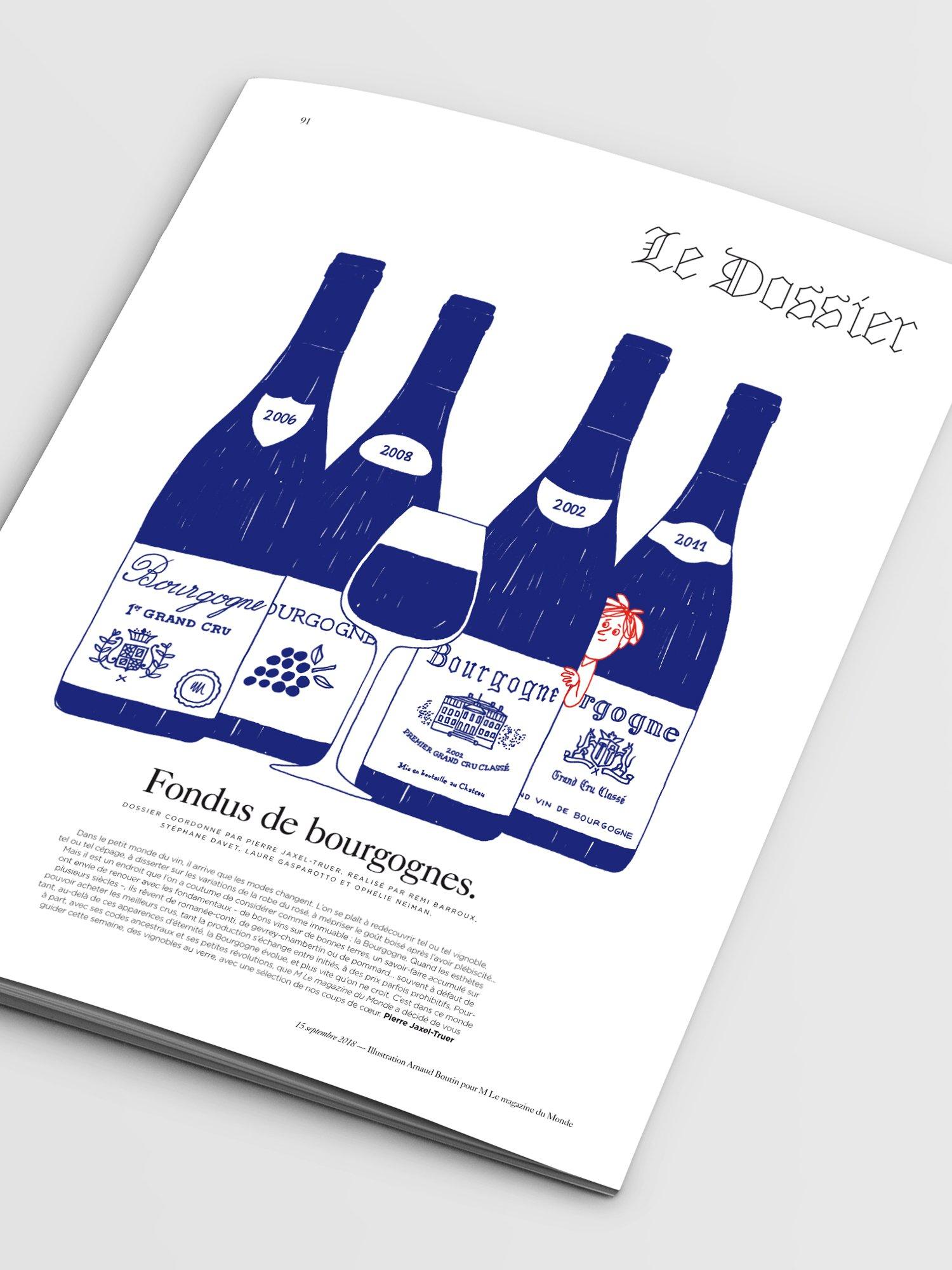 M Le Monde,aurelie bert,presse,graphisme,dossier bourgogne